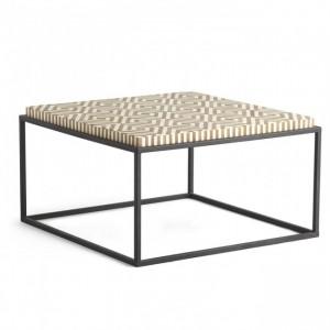 Maaya Bone Inlay Square Coffee Table on metal stand