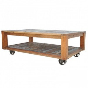 Nirvana Reclaimed boat timber Coffee Table on Wheels 135cm