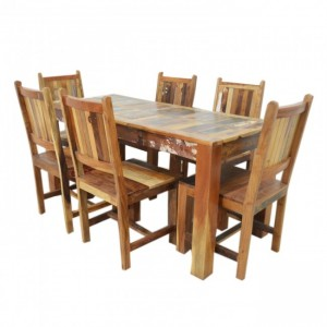 Nirvana Reclaimed 6 Seater 7pc Dining Setting 160x70cm