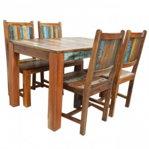 Nirvana Reclaimed 4 Seater 5pc Dining Setting 120x75cm