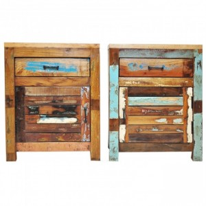 Nirvana Reclaimed timber Pair of Bedside cabinet lamp tables