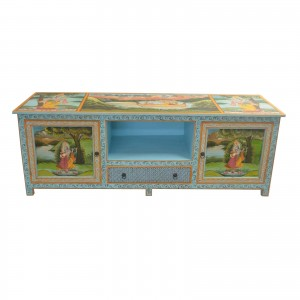 Krishna Hand Painted Entertainment Unit