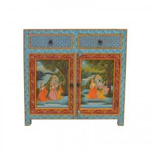 Krishna Hand Painted Wooden Sideboard