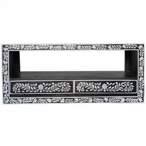 Pandora Bone Inlay Painted Black Floral TV Unit A