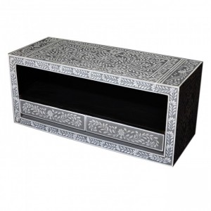Indian Hand Painted Grey Floral TV Unit B