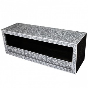 Pandora Bone inlay Grey Floral 3 Drawer TV Unit