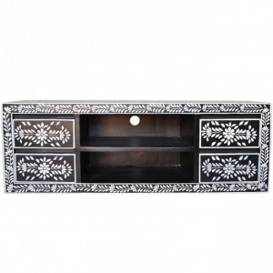 Pandora Bone inlay Black Floral 4 Drawer TV Unit