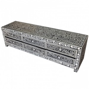 Pandora Bone inlay Black Floral 6 Drawer TV Unit