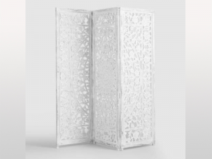 Jali Hand Carved Indian 3 Panel Screen Whitewashed