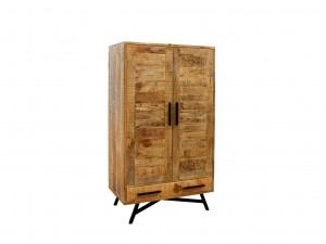 Miller Industrial Indian Solid Wood Double Door Wardrobe Cabinet