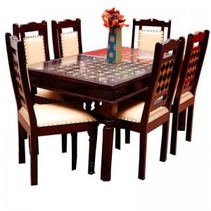 Mogra Antique Brass Work Fusion Dining Table Set, Desire Of Ethnic Art From Jodhpur