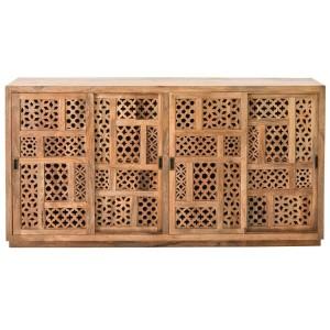 """80"""" Carved Wood Sliding Door Cabinet Storage Credenza"""