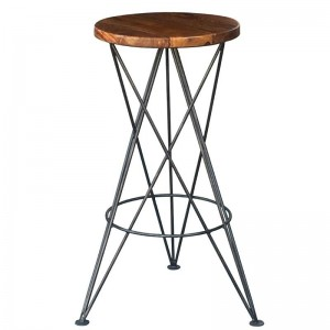 Takat Metal Jali Natural Solid Wood Star Bar Stool