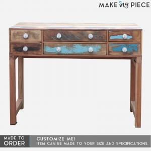 Reclaimed wood 6 Drawers Side Console Table Hall Table Brown 1.2m
