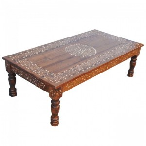 Indian Range Rich Bone Inlay Honey Coffee Table