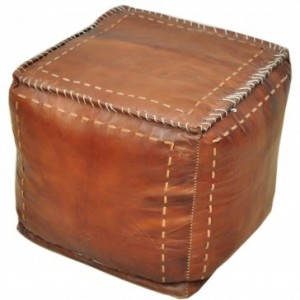 Aged Leather Brown Square Ottomon