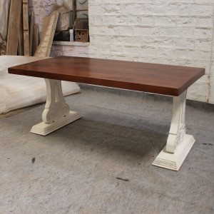 French Pedestal Carved legs Dining table 180x90cm 6-8 seater 2 tone RAMPLING