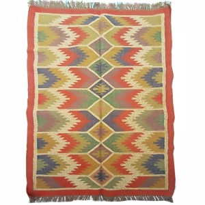 Kilim Wool Handwoven Woollen Dhurrie Durry Rug Jute Floor Covering Pattern 1