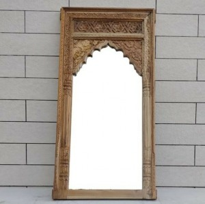 Mehrab Indian Hand Carved Mirror Arched Globe Wooden Wall Decor 150x75cm Brown