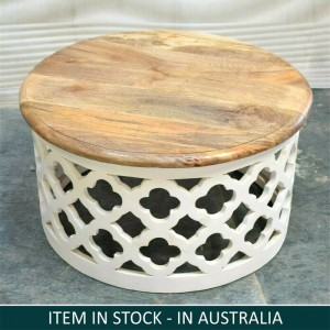 Bristol Indian Solid Wood Round Coffee Table White Top Natural 70cm