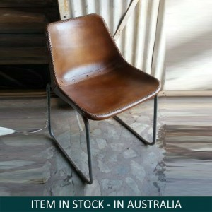 Aged Leather Iron Dining Chair
