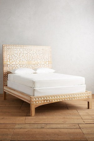 MUGHAL Hand Carved Wall Bedhead Bed Frame QUEEN