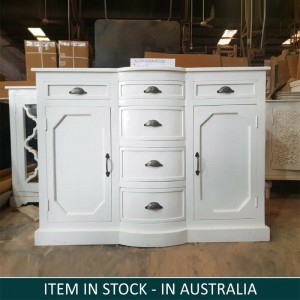 French provincial white country sideboard with metal black handles cabinet 150cm