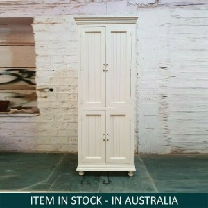 Shutter Indian Mango Wood Wardrobe Cabinet White