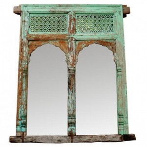 Hand Carved Antique Indian Door Mirror Frame