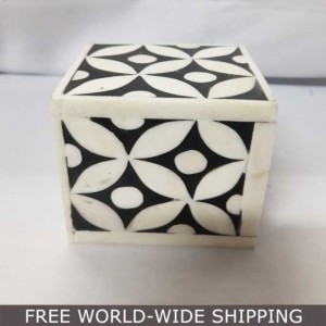 Real Bone Inlay Designer Square Paper Weight BLACK