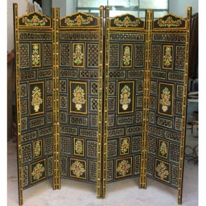 Hand Carved Indian Partition Screen room divider PAINTED