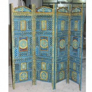 Hand Carved Indian Partition Screen room divider BLUE