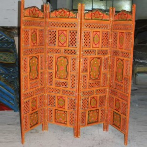 Hand Carved Indian Partition Screen room divider ORANGE