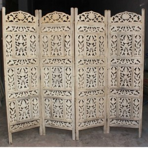 Hand Carved Indian Partition Screen room divider WHITE