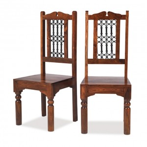 Takat Metal Jali Natural Indian Jali Indian High Back Chair - Pair
