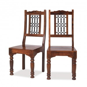 Takat Metal Jali Natural Indian Jali Indian Low Back Chair - Pair
