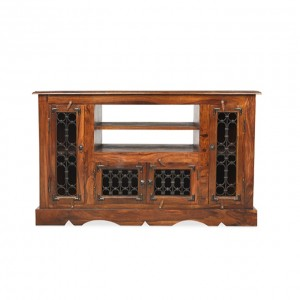 Takat Metal Jali Natural Indian Corner TV Cabinet