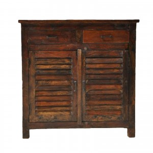 Shutter Design Small Cabinet 2 Drawers Sideboard