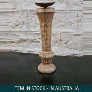 Antique Indian Pillar Leg Natural Wood Carved Vintage Candle Stand holder 32cm C