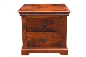 WOODEN BEDSIDE CABINET WITH COLONIAL DRAWERS