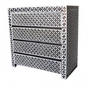 Pandora bone inlay style hand painted Black Chest of Drawers