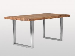 Live Edge Industrial Indian Solid Wood U Metal Base Dinning Table