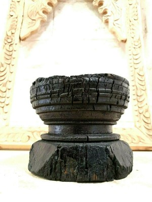 Antique Indian Wooden Seed Dispenser Antique Carved Wood Candle holder black B