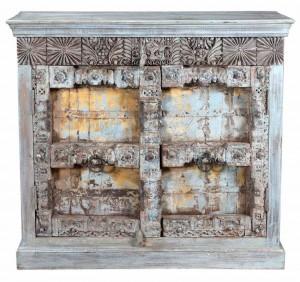 Antique 2 Thick Old Doors Sideboard In Scrap Wood Belgium Brocante