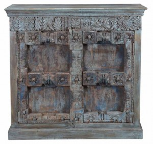 Antique Two Thick Old Doors Sideboard In Scrap wood Belgium Brocante