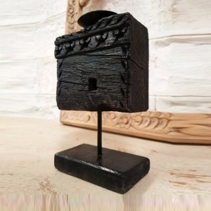 Hand Carved Wooden Vintage Antique Panel Candle Holder Candle Stand Black 20cm D