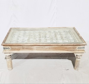 Solid Old Window brasswork inset Coffee Table White Wash With Glass Top 120x60x40cm A