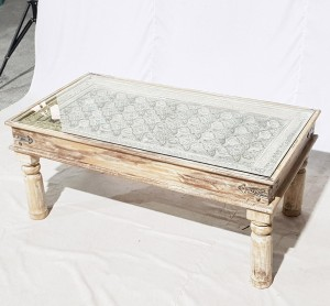 Solid Old Window brasswork inset Coffee Table White Wash With Glass Top 120x60x40cm B