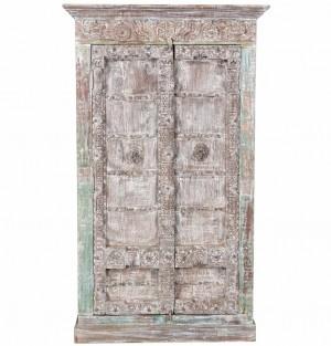 Vintage 2 Door Paneled Cabinet In Scrap Wood India Brocante