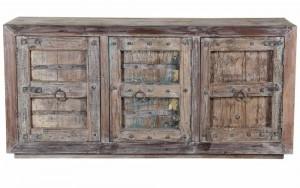 Antique Vintage 3 Door Sideboard In Scrap Wood India Brocante